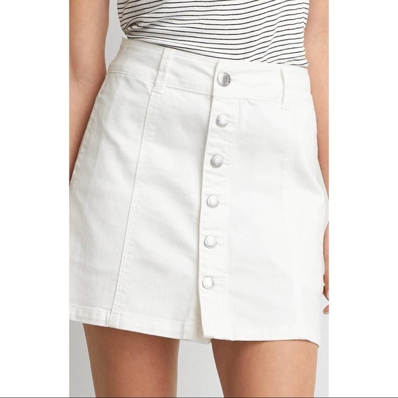 e77af767b American Eagle Outfitters Skirts | American Eagle White Denim Button ...